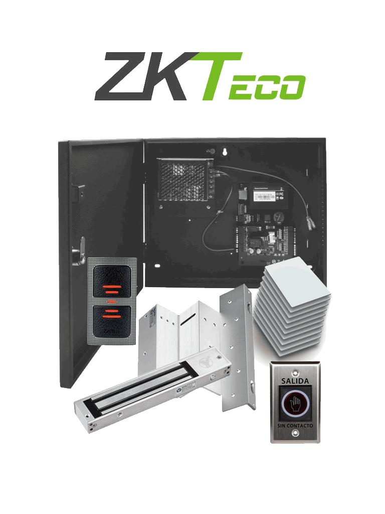 ZKTECO C3100IDPACK - Control de Acceso Profesional para 1 Puerta con Lector de Tarjeta RFID / Botón de Salida sin Contacto / Contrachapa Magnética y Soporte para Contrachapa / Paquete de 10 Tarjetas / Administra con Software ZK Access 3.5