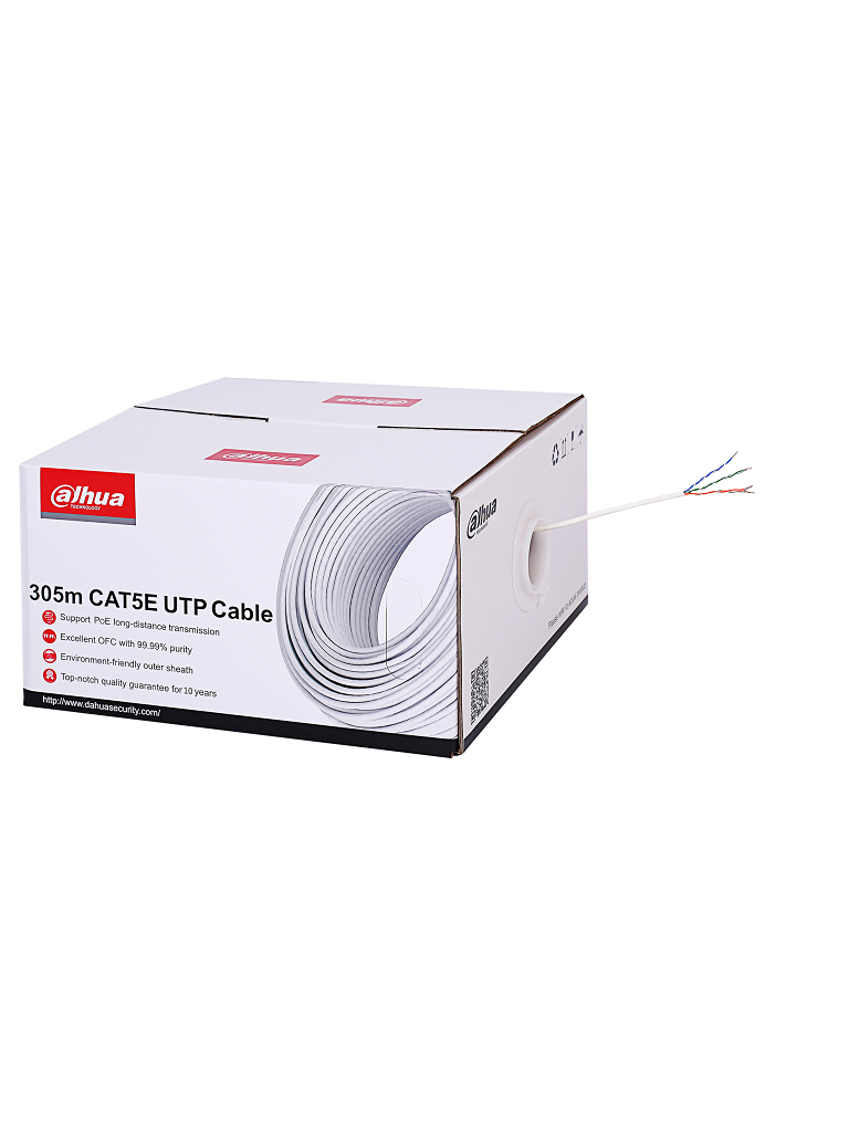 DAHUA PFM923I5EUNC - Bobina de cable UTP 100% cobre / Categoria 5E / Color blanco / Interior / 305 Metros / Redes / Video / CPR E CLASS / LSZH