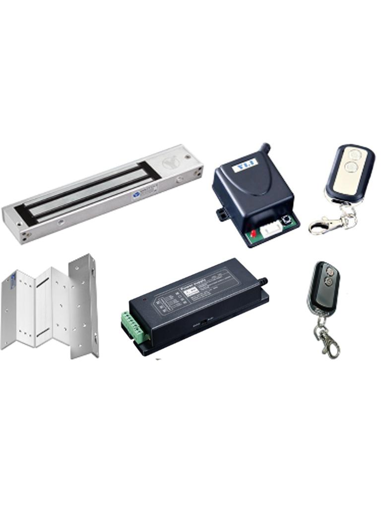 YLI ABK400PAK - Paquete con chapa magnetica de 280  Kg / Soporte  ZL para instalacion / Fuente de energia 12 VDC / Modulo con RELAY / 2 Controles remotos