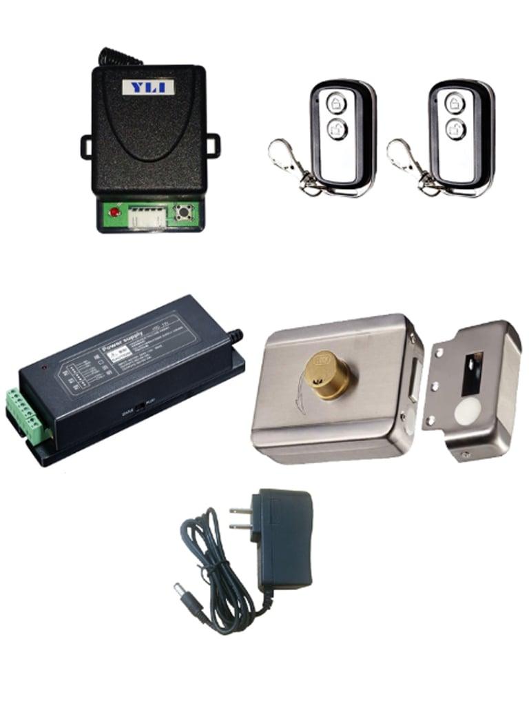 YLI ABK703BSPAQ - Paquete de cerradura inteligente / Modulo y 2 controles remotos / Fuente de poder para cerradura y modulo