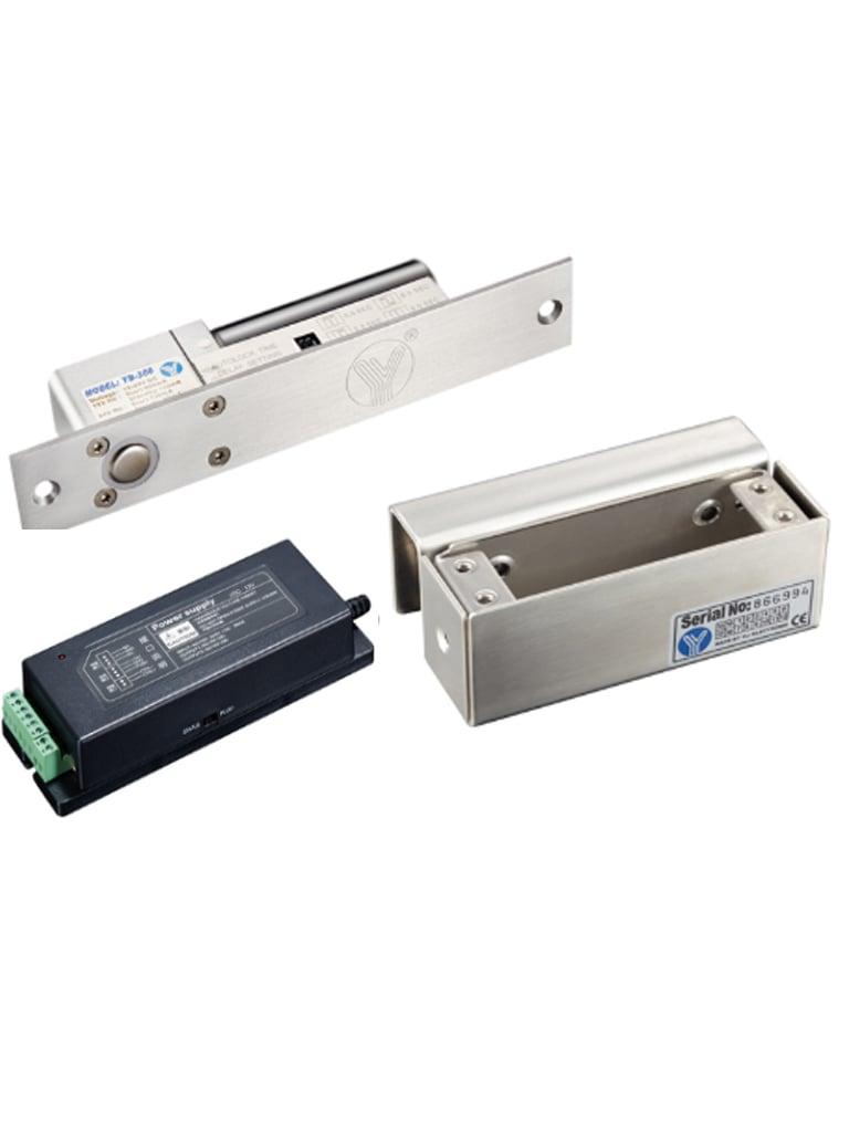 YLI YB300PAK - Paquete de contrachapa electrica de perno incluye soporte para instalacion en puertas de vidrio y fuente de 12 VDC a 3A MP
