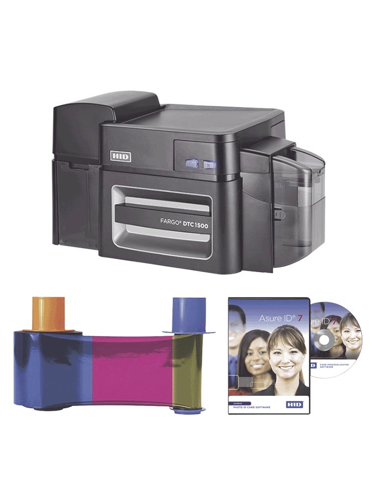 HID DTC1500SSBUNDLE - Kit de impresora DTC1500 impresión a un solo lado, conexión por USB o LAN por por medio de puerto Ethernet, Incluye cinta para 500 impresiones YMCKO y software AsureID versión Express