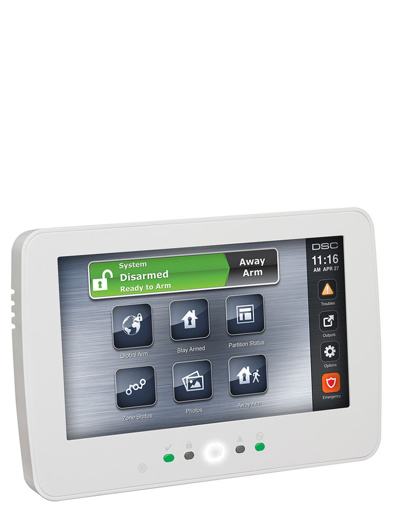 DSC HS2TCHPN - Teclado Cableado de Pantalla Táctil de 7'' con Lector de Proximidad admite 128 zonas compatible con NEO