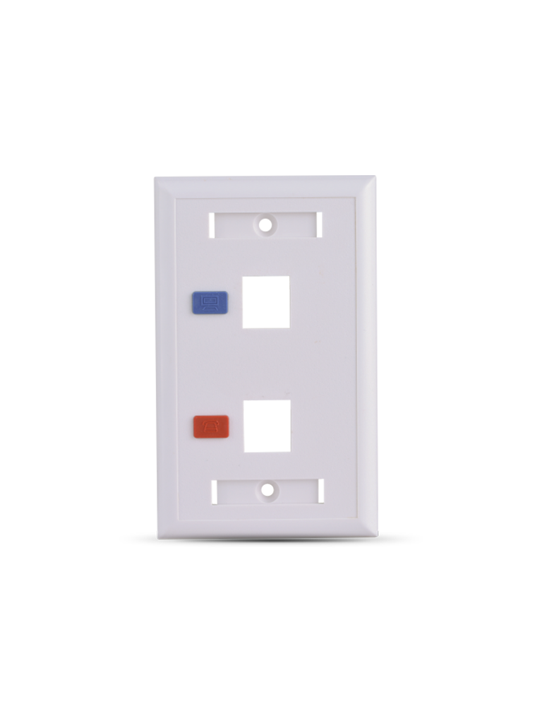 SAXXON A1752E - Placa de pared / Vertical / 2 Puertos tipo keystone / Color blanco / Con etiquetas