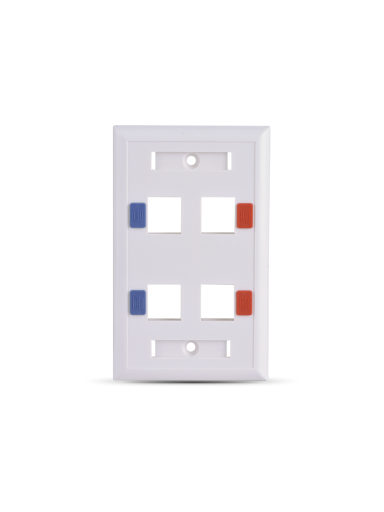 SAXXON A1754E - Placa de pared / Vertical / 4 Puertos tipo keystone / Color blanco / Con etiquetas