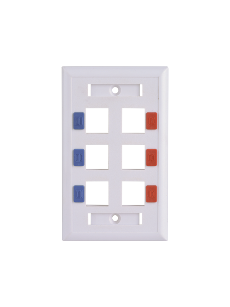 SAXXON A1756E - Placa de pared / Vertical / 6 Puertos tipo keystone / Color blanco / Con etiquetas