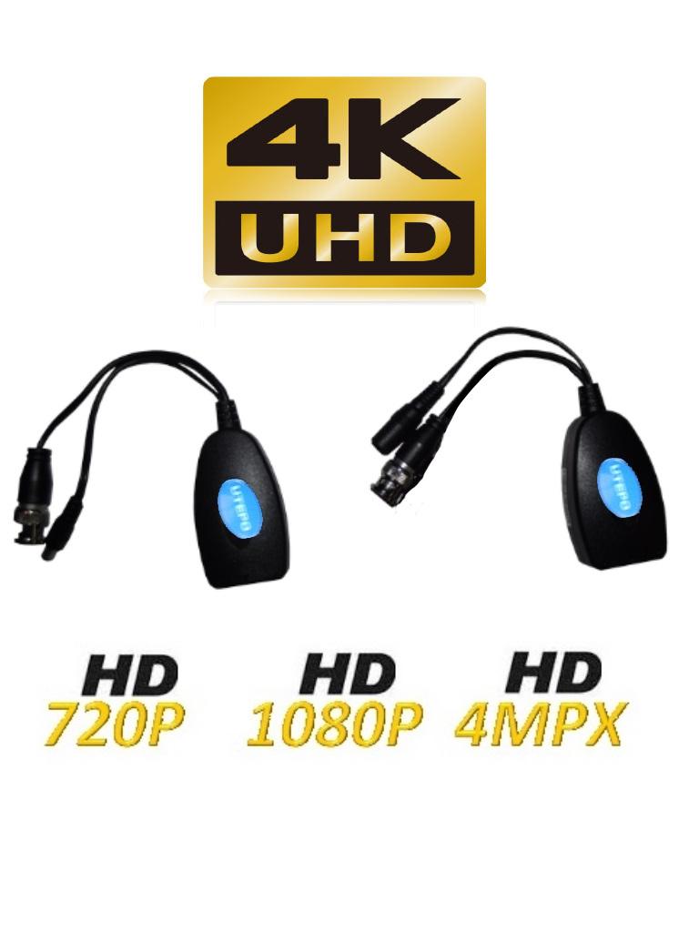 UTEPO UTP101PVHD12 - Par transceptores de video  HDCVI / TVI / A HD / CVBS / Transmision de energia / 300M A  720p / 250M A 2 MP / 4 MP / 150M A 4K