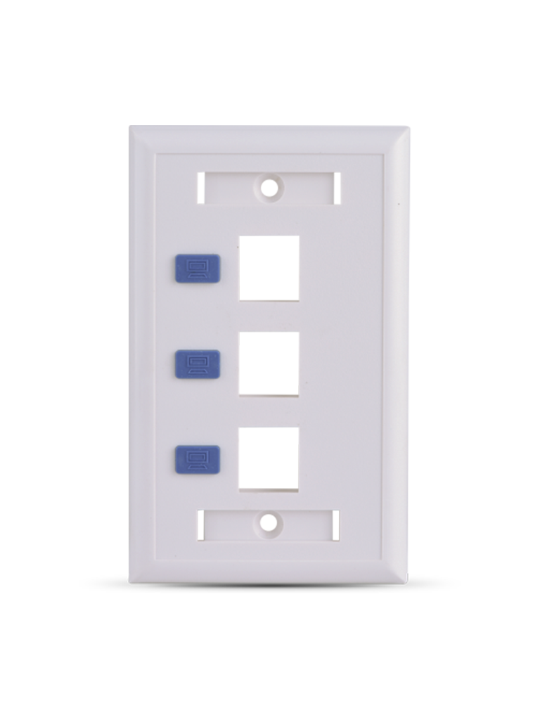 SAXXON A1753E - Placa de pared / Vertical / 3 Puertos tipo keystone / Color blanco / Con etiquetas