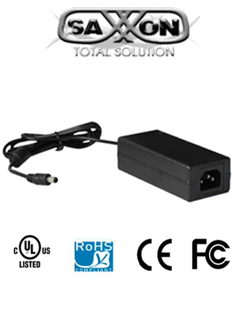 SAXXON PSU1204D- FUENTE DE PODER REGULADA 12V CD/ 4.1 AMPERES/ CERTIFICACION UL/ CABLE DE 1.2 MTS/ COLOR NEGRO