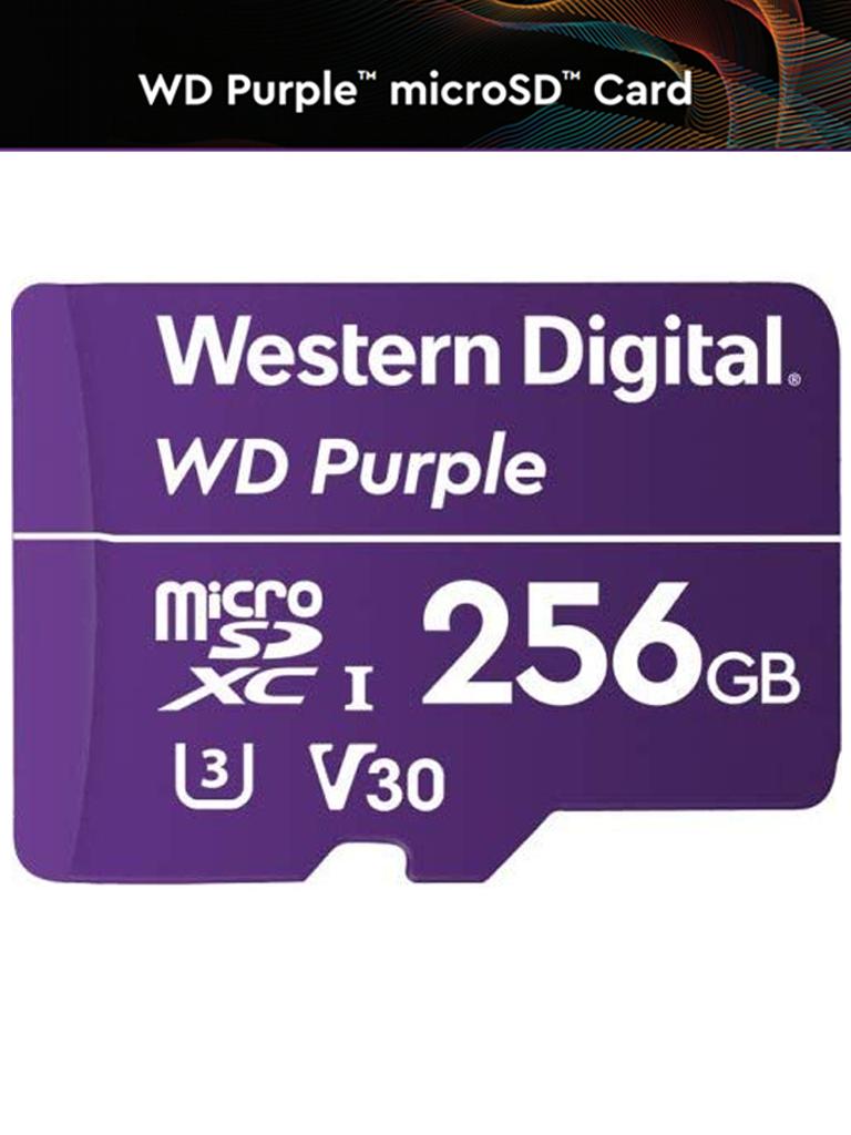 WESTERN WDD256G1P0A- MEMORIA DE 256 GB MICRO SDXC PURPLE/ ESPECIALIZADA PARA VIDEOVIGILANCIA 24/7 CLASE 10 LECT 80MB/S ESC 50MB/S