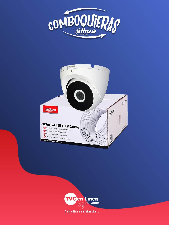 DAHUA COMBOQUIERAS5A - Camara domo 2 MP T2A21 a precio especial en la compra 1 bobina UTP 305 Mts 100% cobre DAC11900034