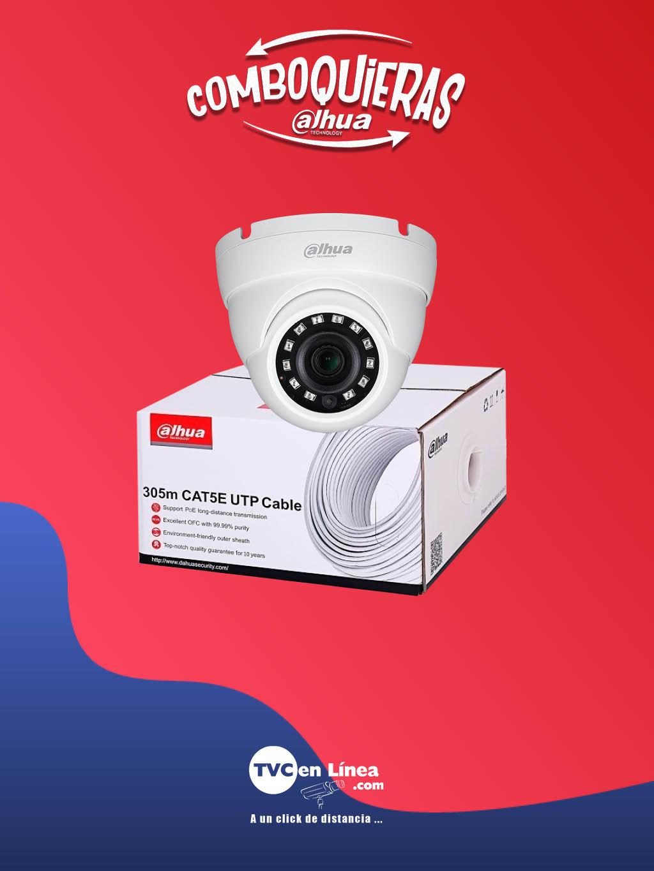 DAHUA COMBOQUIERAS6A - Camara domo 2 MP, 2.8  mm modelo DAH3970019 a precio especial en la compra 1 bobina UTP 305 Mts 100% cobre DAC1190003