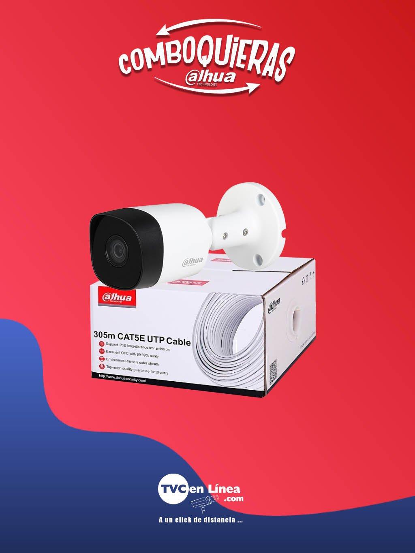 DAHUA COMBOQUIERAS2A - Camara bullet B2A11 1 MP metalica a precio especial en la compra de una bobina UTP 305 Mts 100% cobre DAC1190003