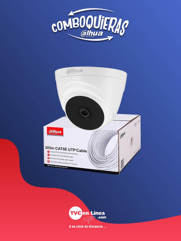 DAHUA COMBOQUIERAS3A - Bobina UTP 305 Mts 100% cobre DAC1190003 + camara domo 1 MP T1A21 a precio PREFERE NCIAL