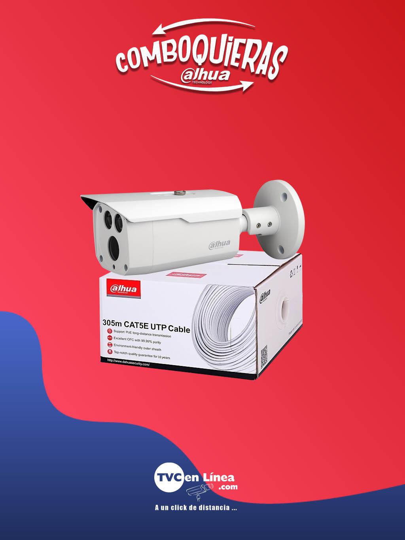 DAHUA COMBOQUIERAS4A - Bobina UTP 305 Mts 100% cobre DAC1190003 + camara bullet 2 MP HFW1200D36 80 Mts a precio PREFERE NCIAL