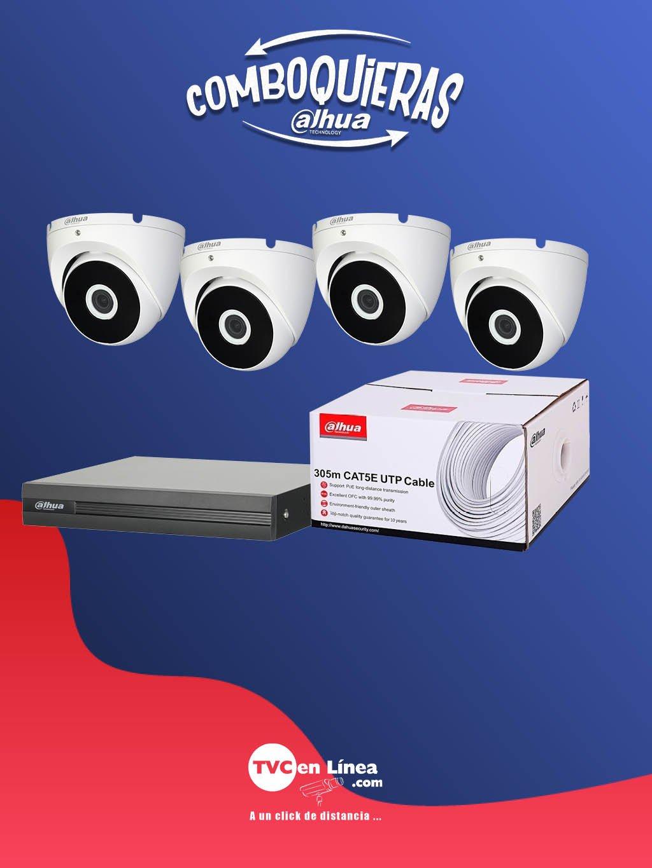DAHUA COMBOQUIERAS5C - 4 Camaras domo 2 MP T2A21 a precio especial en la compra 1 bobina DAC1190003 mas 1 DVR DAD505005