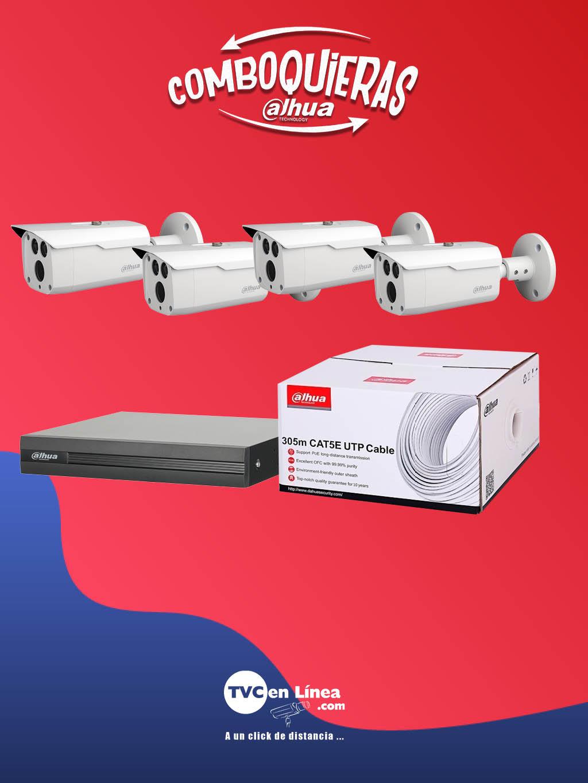 DAHUA COMBOQUIERAS4B - 4 Camaras HFW1200D36 a precio especial en la compra 1 bobina DAC1190003 mas 1 DVR DAD501007