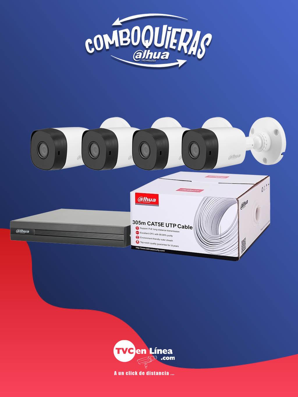 DAHUA COMBOQUIERAS1C - 4 Camaras bullet B1A11 de 1 MP a precio especial, en la compra de 1 bobina UTP 305  Mts DAC1190003 mas 1 DVR de 16 canales  HDCVI  1080p  Lite DAD505005