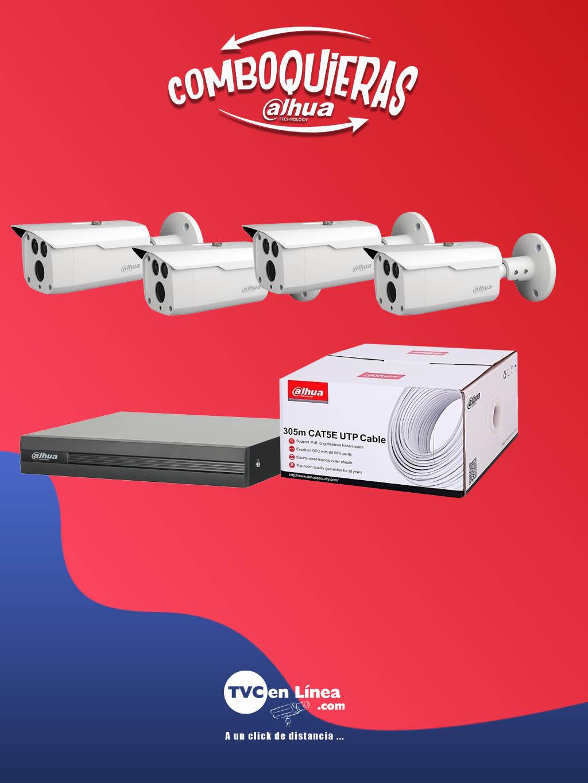 DAHUA COMBOQUIERAS4C - 4 Camaras bullet 2 MP HFW1200D36 80 Mts en la compra de 1 bobina UTP 305  Mts DAC1190003 mas 1 DVR de 16 canales  HDCVI  1080p  Lite DAD505005