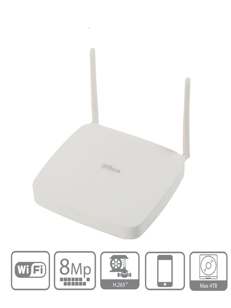 DAHUA NVR2108-W-4KS2 - NVR WiFi de 8 Canales 4k/ 2.4 GHz/ 2 Antenas/ H.265+/ 80 Mbps/24Mbps WiFi/ 1 Sata/ Onvif 2.4