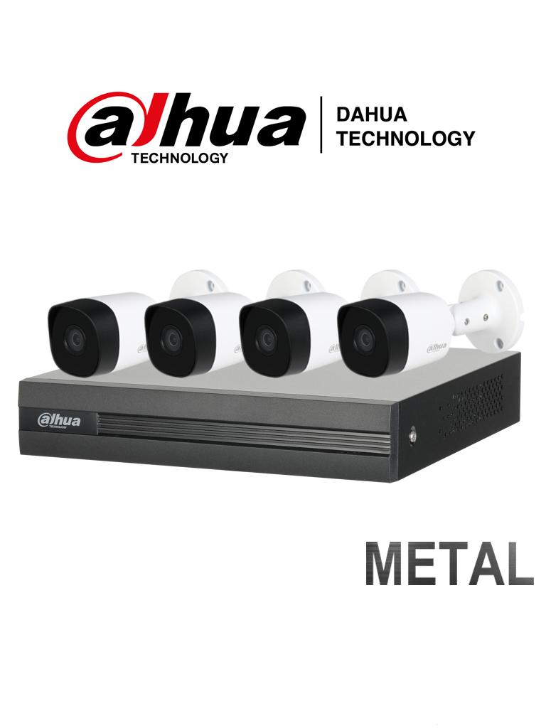 DAHUA XVR1A044B2A11 - Kit de 4 Canales 720P/ DVR de 4 Canales/ 4 Camaras Bala Metalicas/ 4 Cables y Fuente de Poder/ P2P/