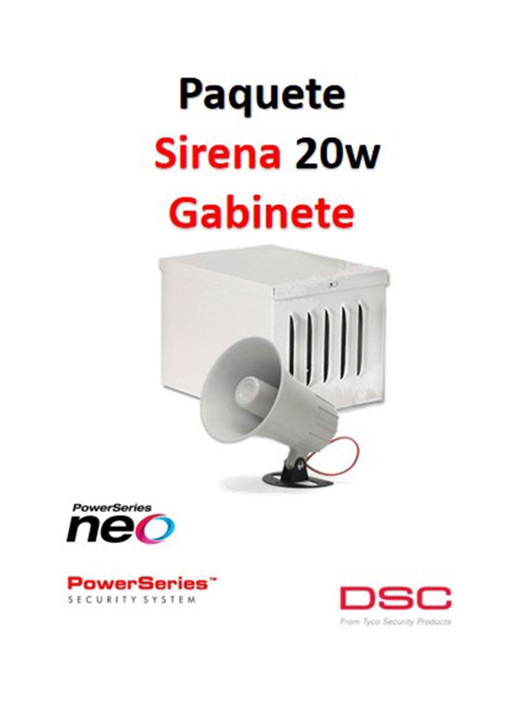 DSC S20WGPAQ - Paquete Sirena Exterior 20W con Gabinete