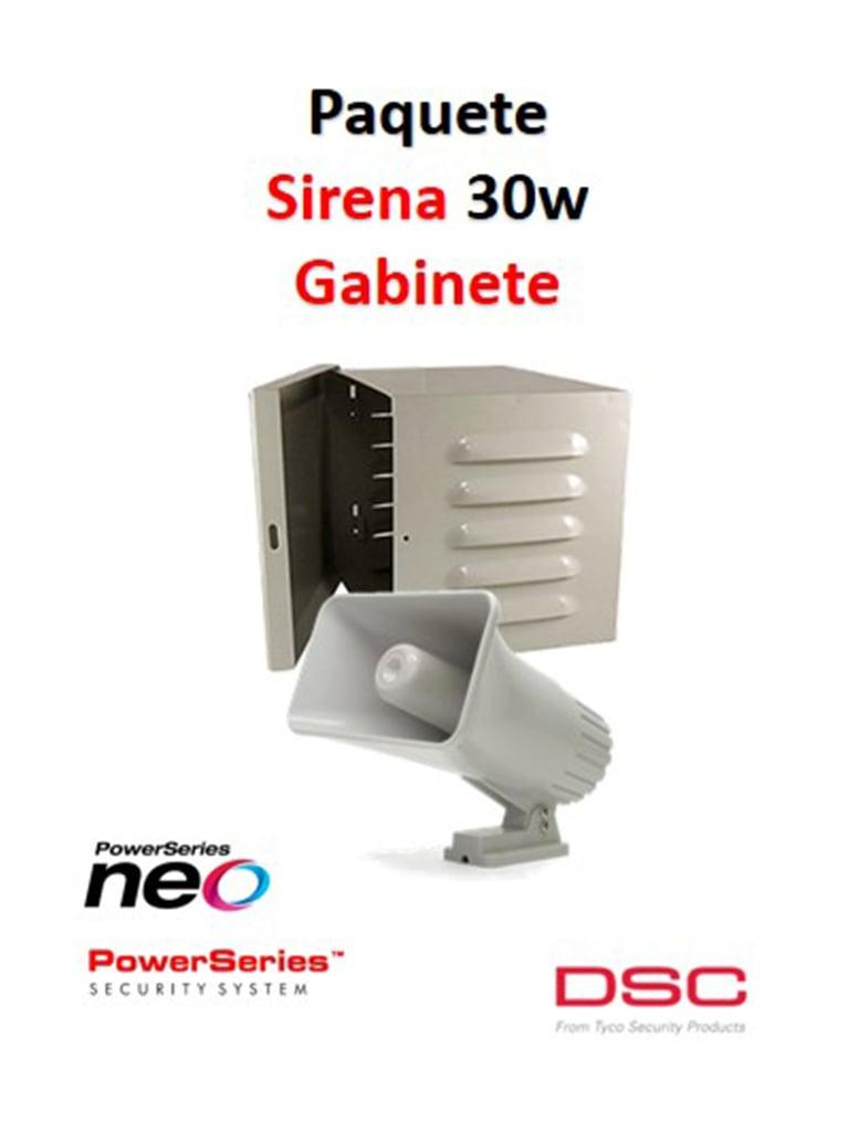 DSC S30WGPAQ - Paquete Sirena Exterior 30W con Gabinete
