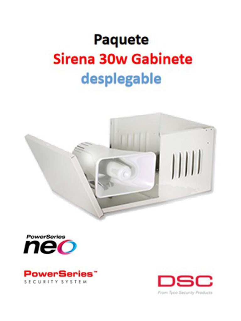 DSC S30WGDPAQ - Paquete Sirena Exterior 30W con Gabinete Desplegable