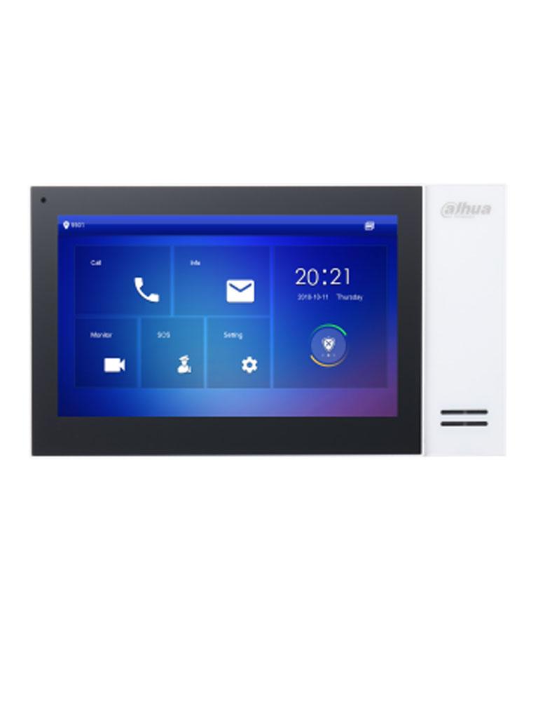 DAHUA VTH2421FW- Monitor IP touch de 7 pulgadas / PoE DAHUA / Llamada en grupo / 8 Camaras IP / 6 Entradas de alarma/1 salida alarma / Hasta 20 frentes de calle