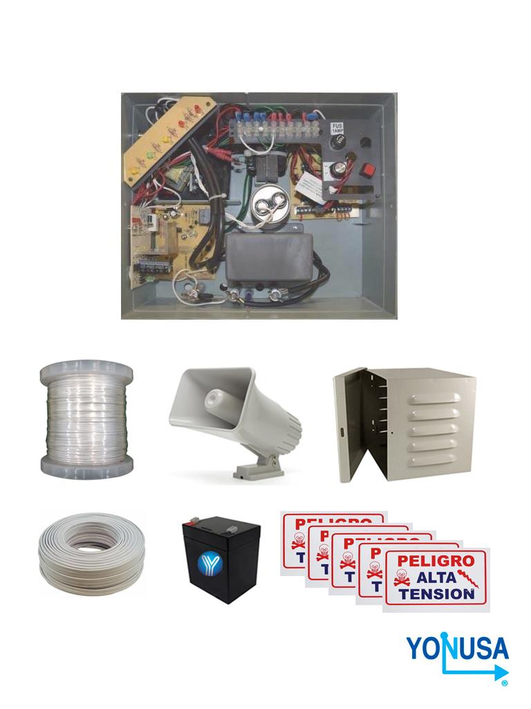 YONUSA PACK127AF -Paquete de energizador de alta frecuencia con interface/ Sirena y gabinete metálico/ Bobina de alambre 500 mts/ Bobina cable bujía/ batería y 5 letrero