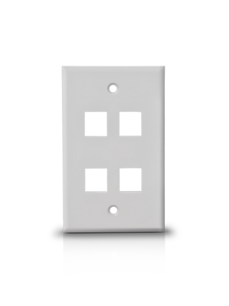 TVC A1754A- PLACA DE PARED/ VERTICAL/ 4 PUERTOS TIPO KEYSTONE/ COLOR BLANCO