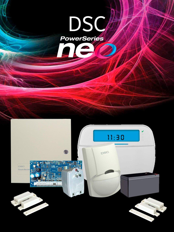 DSC NEOICON - Paquete NEO con panel HS2032 / 8 zonas cableadas expandible a 32/ Teclado ICON HS2ICN / Sensores Cableados y Accesorios