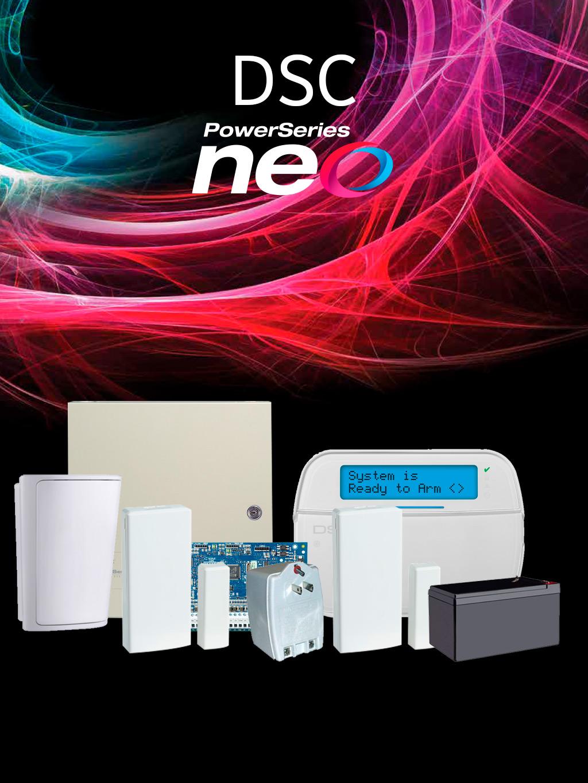 DSC NEORFLCD - Paquete NEO con 32 Zonas Inalámbricas / panel HS2032/ Teclado LCD Alfanumérico HS2LCDRF9 N / Sensores Inalámbricos y Accesorios