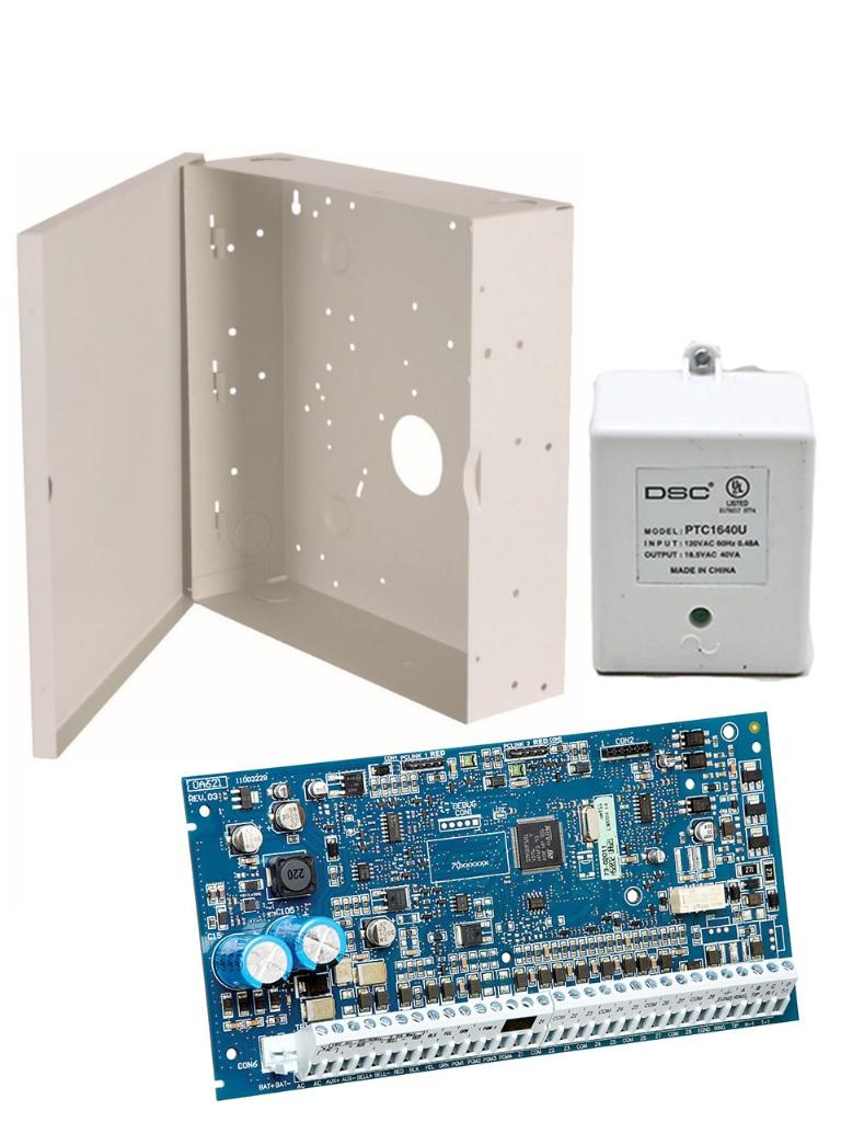 DSC NEOBASICO - Paquete de Panel Neo HS2032PCBSPA con Gabinete GTVCMX-003  y Fuente PTC1640U