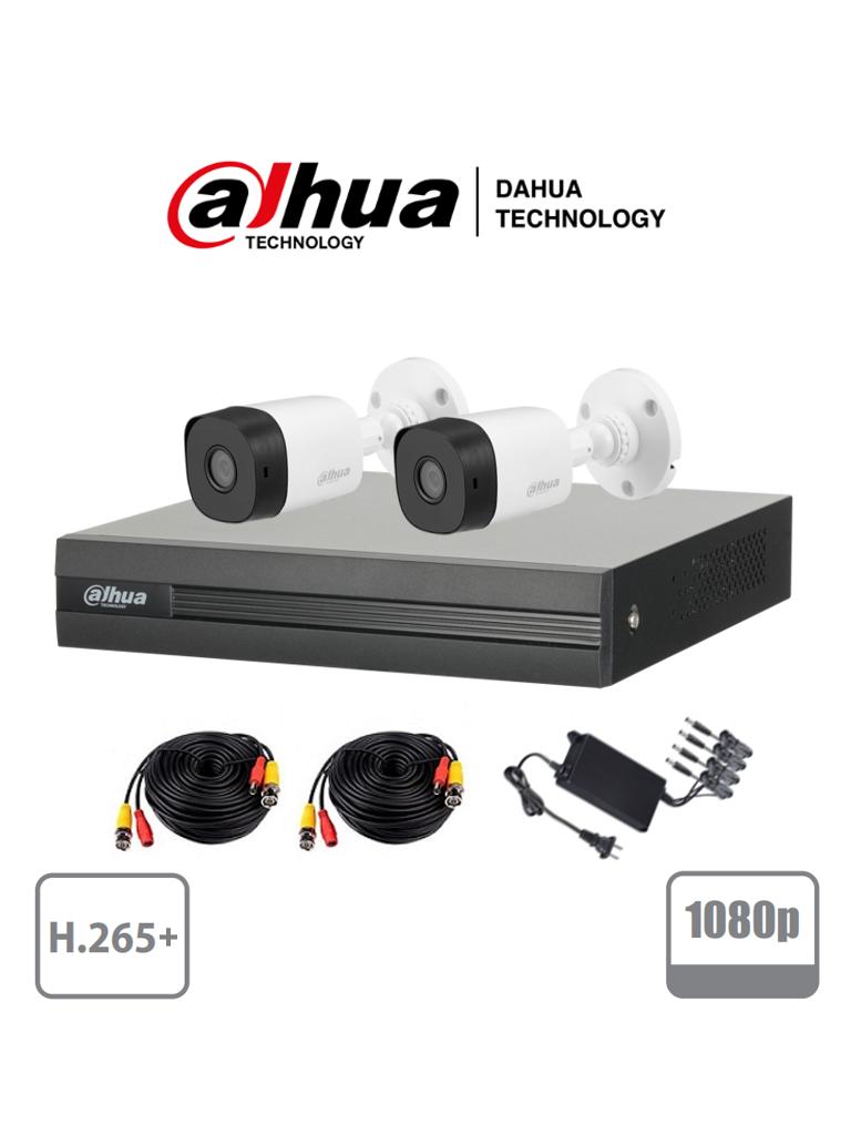 DAHUA COOPER XVR1B04KIT - Kit 4 canales 2 Megapixeles/ 2 Camaras B1A21 1080p/ DVR De 4 canales H.265+ 1080p Lite/ 1 Ch IP Adicional/ IR 20 mts / IP67 /Accesorios/ PROMDDH