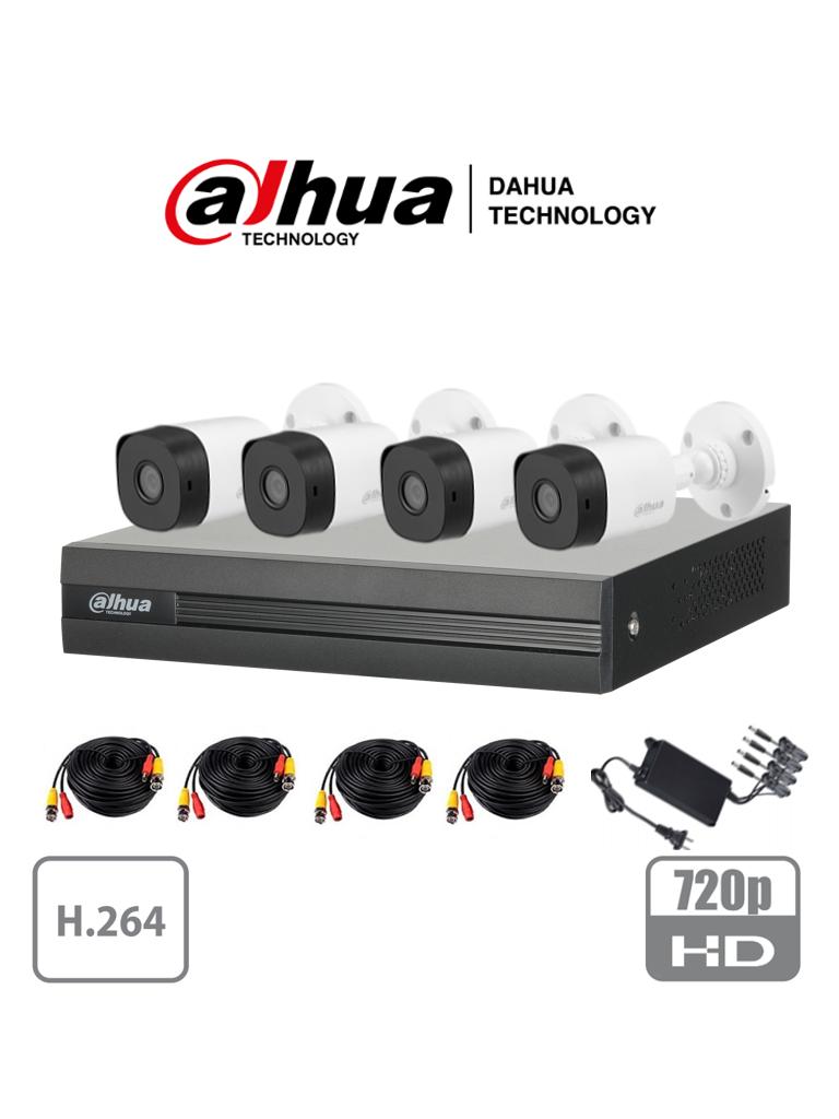 DAHUA COOPER XVR1A04KIT - Kit 4 canales 1 Megapixel/ 4 Camaras B1A11 720p/ DVR de 4 Canales H.264 1080p Lite/ 1 Ch IP Adicional/ IR 20 mts/ IP67/ Accesorios