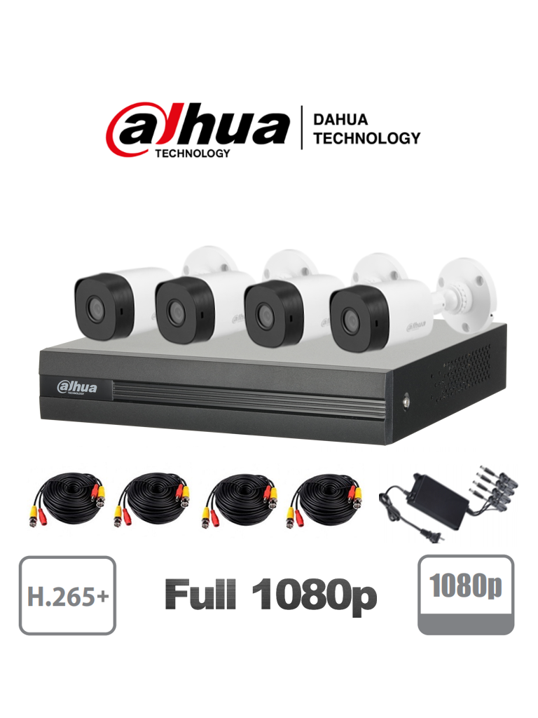 DAHUA COOPER XVR1B04HKIT - Kit 4 canales 2 Megapixeles/ 4 Camaras B1A21 1080p/ DVR 4 Canales  H.265+ Full 1080p/ 2 Ch IP Adicionales/ IR 20 mts/ Accesorios