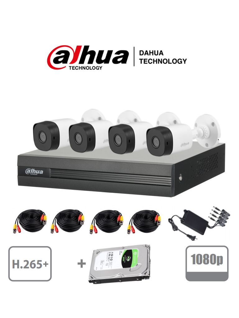 DAHUA COOPER XVR1B04KITHDD - Kit 4 canales 2 Megapixeles/ 4 Camaras B1A21 1080p/ DVR De 4 canales H.265+ 1080p Lite/ Disco duro 1TB / 1 Ch IP Adicional/ Accesorios