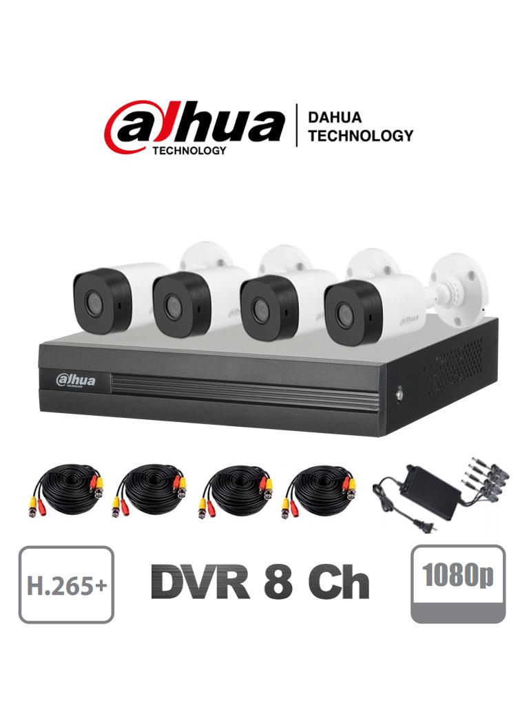 DAHUA COOPER XVR1B08KIT4C - Kit 8 canales 2 megapixeles / 4 Camaras B1A21  1080p / DVR De 8 canales  1080p  Lite / H.265+ / 2 Ch IP / Ir 20M / IP67