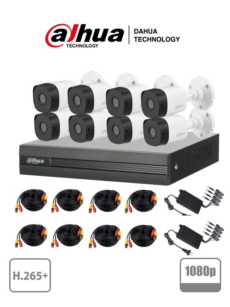 DAHUA COOPER XVR1B08KIT - Kit 8 canales 2 megapixeles/ 2 Ch IP adicionales/ 8 Camaras B1A21  1080p/ DVR De 8 canales H.265+1080p Lite 4+2/ Accesorios