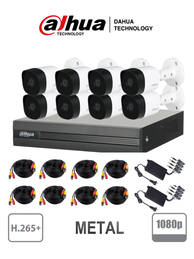 DAHUA COOPER XVR1B08KITII - Kit 8 canales 2 megapixeles / 8 Camaras B2A21  1080p metalicas / DVR De 8 canales  1080p  Lite / H.265+ / 2 Ch IP adicionales 8+2 / Ir 20M / IP67 / Accesorios