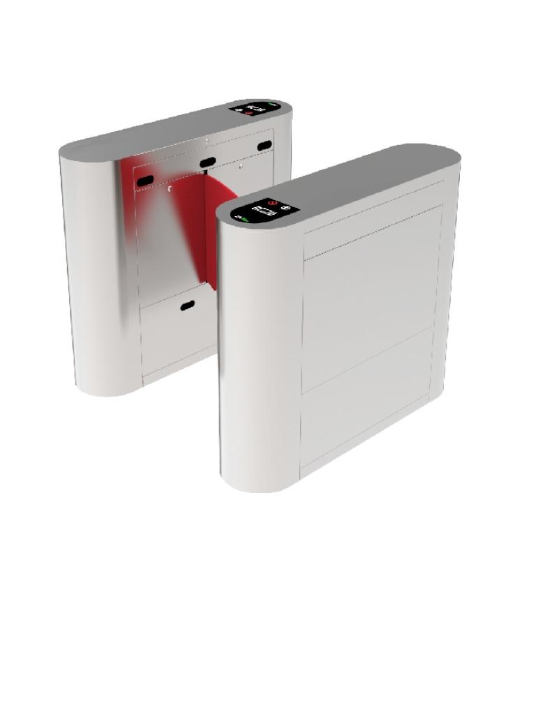 ZKTECO PROENTRANCE FB01FP - Flap Barrier de Acero Inoxidable / 30 personas por minuto/RFID + FP /Viene con 2 lectores de Huella FR1500 y un panel inBio206 Pro / Una Linea