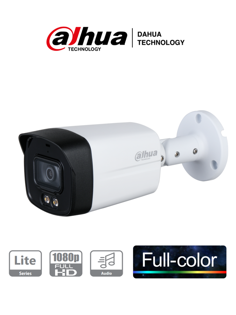 DAHUA HFW1239TLM-A-LED - Camara Bullet HDCVI Full Color 1080p/ Microfono Integrado/ Starlight/ Luz Blanca 40 mts/ Lente de 3.6mm/ IP67