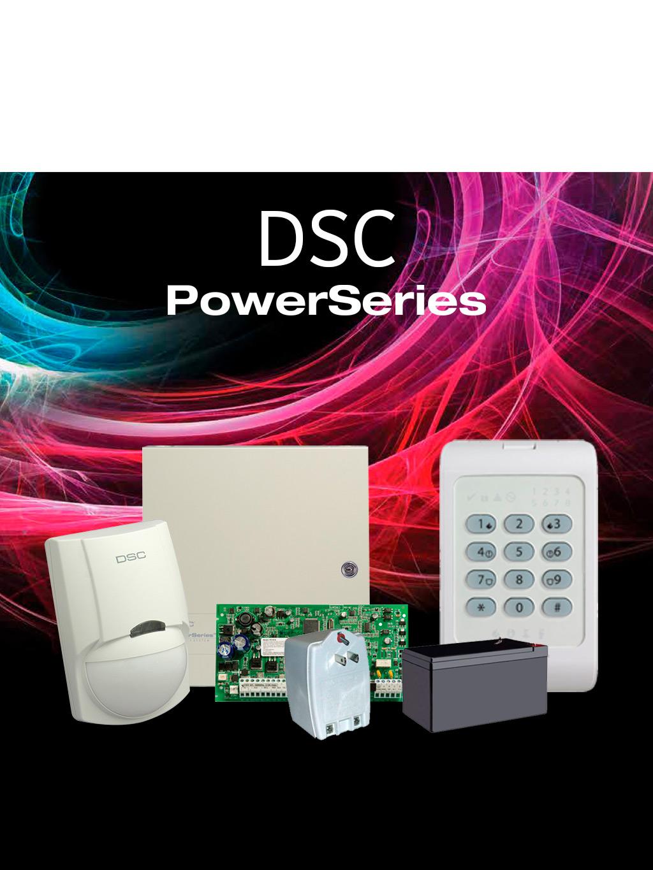DSC POWER-LED- Paquete Power con panel PC1832/ 8 zonas cableadas / Teclado de 8 Zonas LED PC1404/ Detector de Movimiento Cableado LC100PI /Gabinete Metálico / Fuente de Poder / Batería 7AH /