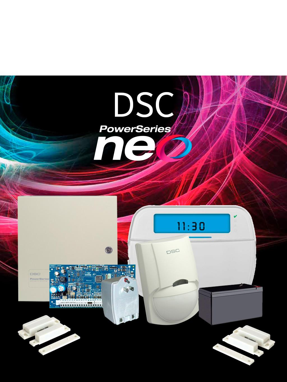 DSC NEO-ICON - Paquete NEO ICONOS con panel HS2032 / 8 zonas cableadas expandible a 32/ Teclado ICON HS2ICN / Sensores Cableados y Accesorios