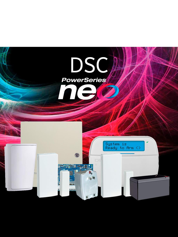 DSC NEO-RF-LCD - Paquete NEO con 32 Zonas Inalámbricas / panel HS2032/ Teclado LCD Alfanumérico HS2LCDRF9 N / Sensores Inalámbricos y Accesorios