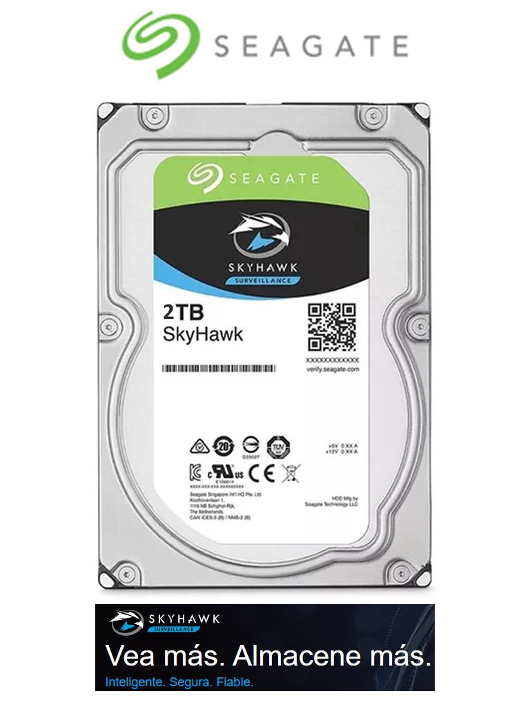 SEAGATE ST2000VX007- Disco duro de 2TB/ Serie SKYHAWK lite/ Recomendado para videovigilancia/ Hasta 2 bahías/ Hasta 32 cámaras/ 36 meses de garantía