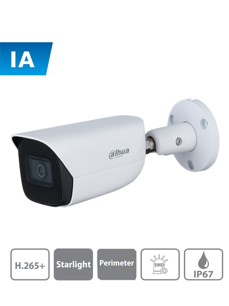 DAHUA IPC-HFW3441E-AS - Camara IP Bullet con Inteligencia Artificial/ 4 Megapixeles/ Lente de 2.8mm/ Microfono Integrado/ WDR/ E&S de Alarma/ E&S Audio/ IR 50 Mts/ SMD/ Proteccion Perimetral/ IP67