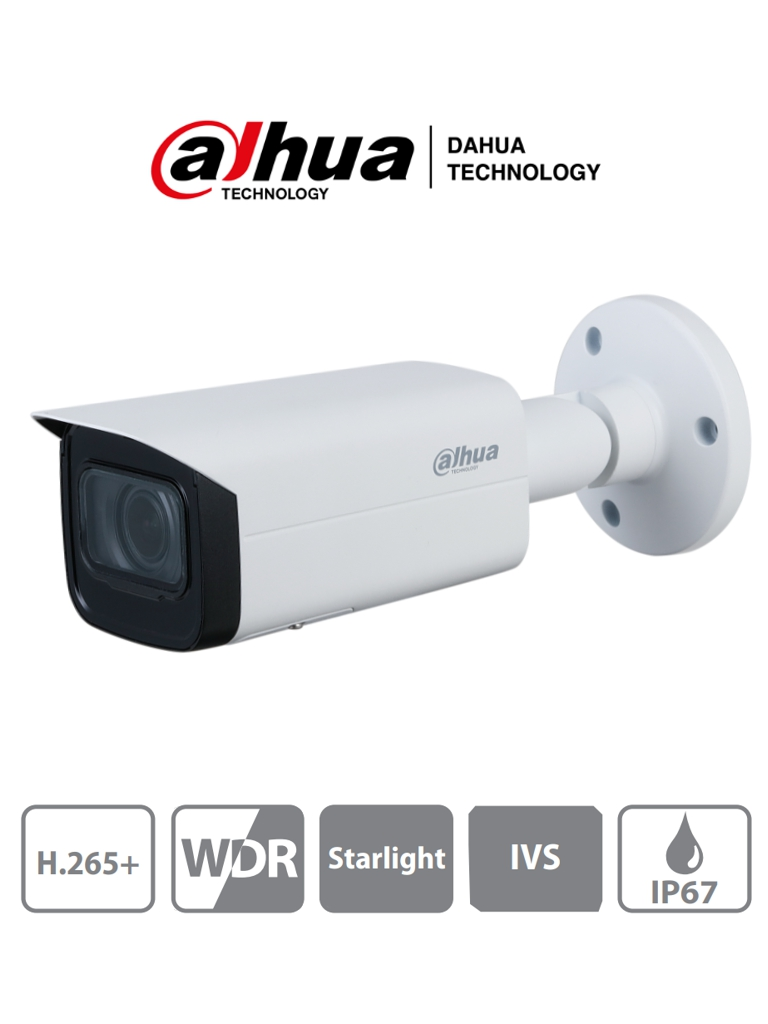 DAHUA IPC-HFW2431TN-ZS-S2 - Camara IP Bullet 4 Megapixeles/ IR 60Mts/ WDR Real 120dB/ Lente Motorizado de 2.7 a 13.5mm/ IP67/ PoE/ Starlight/ IVS/ Ranura para Micro SD