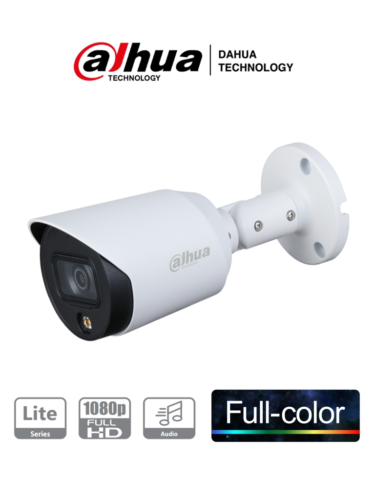 DAHUA HAC-HFW1239T-A-LED - Camara Bullet HDCVI Full Color 1080P/ Microfono Integrado/ Metalica/ Led de 20 Mts/ 3.6 MM/ IP67/ Starlight